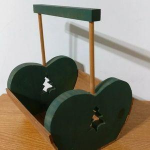 Vtg Wood Slat Basket Crate Green Fir Tree Cutout